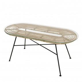 Table 100x45cm rotin naturel plateau verre pieds métal