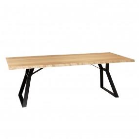 Table à manger 230x100cm bois Chêne pieds métal