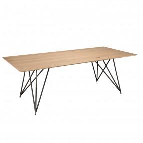 Table à manger 220x100 bois Chêne pieds croisés métal