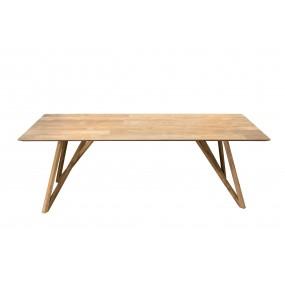 Table à manger 220x100cm bois Teck recyclé pieds croisés Teck