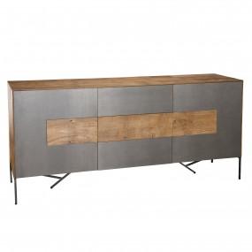 Buffet 2 portes 3 tiroirs bois Teck recyclé façade métal et pieds métal
