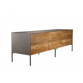 Meuble TV 2 portes 1 tiroir bois Teck recyclé métal et pieds métal