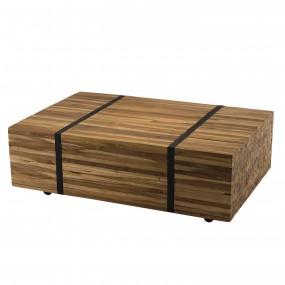 Table basse 110x70cm avec roulettes bois Teck recyclé cerclée métal