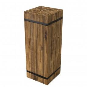 """Table d'appoint carrée """"L"""" bois Teck recyclé cerclée métal"""