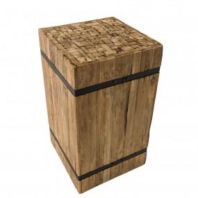 """Table d'appoint carrée """"M"""" bois Teck recyclé cerclée métal"""