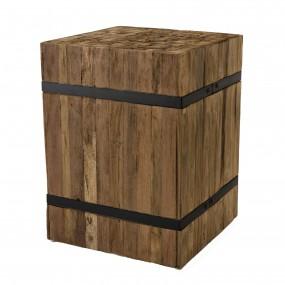 """Table d'appoint carrée """"S"""" bois Teck recyclé cerclée métal"""