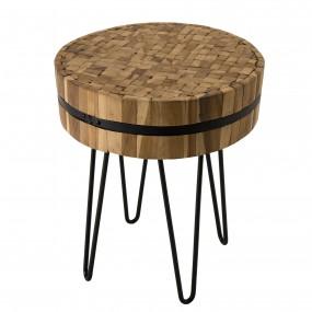 Table d'appoint ronde 45x45cm bois Teck recyclé cerclée métal pieds épingles métal