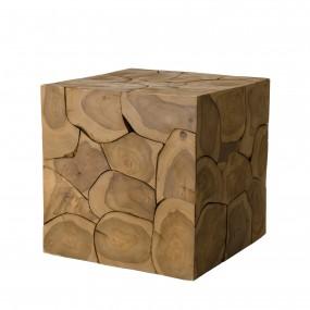 Cube 40x40cm bois Teck nature