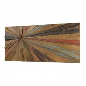 Décoration murale rectangulaire 100x40cm bois Teck recyclé multicolore