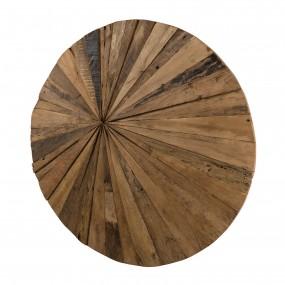 Décoration murale ronde 80x80 bois Teck recyclé