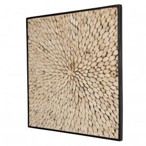 Décoration murale carrée 100x100cm bois branches Teck nature