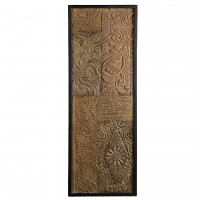 Décoration murale rectangulaire bois Teck recyclé motif graphique