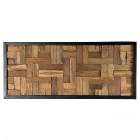 Décoration murale rectangularie mozaïc bois Teck recyclé nature
