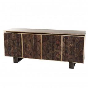 Buffet bois Manguier 177x45cm 4 portes 2 étagères Katmandou