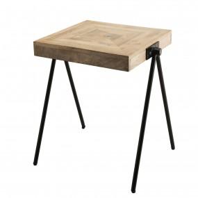 """Table d'appoint carrée bois Manguier pieds métal """"COMPAS"""""""