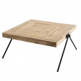"""Table basse carrée bois Manguier pieds métal """"COMPAS"""""""