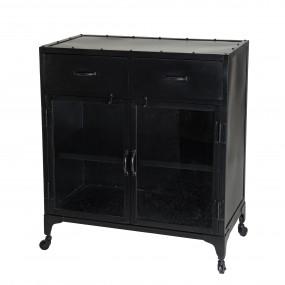 Buffet métal noir industriel 2 portes 2 tiroirs