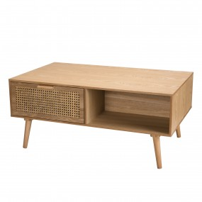 Table basse couleur naturel 2 tiroirs cannage 1 niche