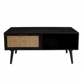 Table basse noire 2 tiroirs cannage 1 niche