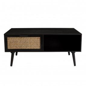 Table basse noire 2 tiroirs cannage 1 niche