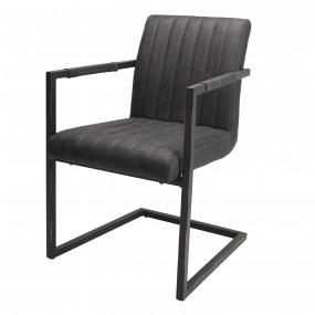 Lot de 2 fauteuils tissu gris anthracite