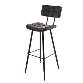 Lot de 2 tabourets de bar James noir hauteur d'assise 80cm