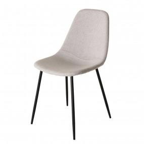 Lot de 2 chaises tissu beige pieds métal