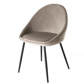 Lot de 2 chaises velours chamois pieds métal