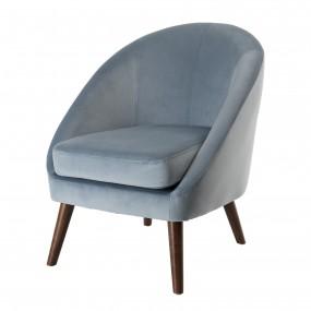 Fauteuil tissu velours bleu clair pieds bois