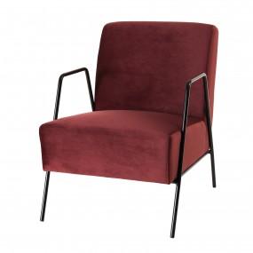 Fauteuil lounge tissu velours bordeaux pieds métal