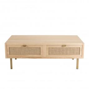 Table basse 2 tiroirs toile de jute pieds métal doré
