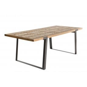 Table à manger 220x100cm Sapin et métal