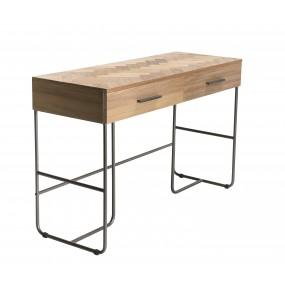 Bureau 2 tiroirs bois pieds métal