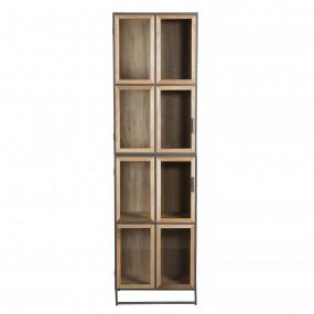 Bibliothèque 4 niveaux portes vitrées bois et métal