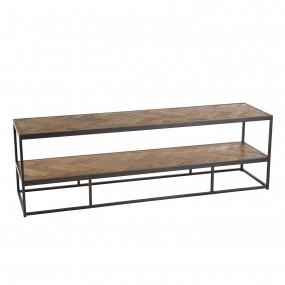 Meuble TV 2 niveaux bois et métal