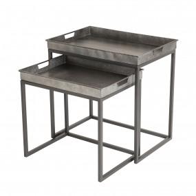 Set de 2 tables d'appoint gigognes plateaux Zinc rectangulaires pieds métal