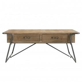 Table basse 2 tiroirs Sapin marqueté pieds métal