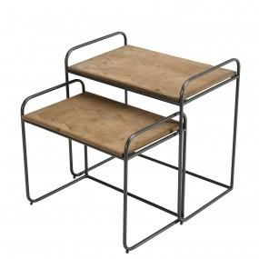Set de 2 tables d'appoint gigognes plateaux rectangulaires Sapin marqueté pieds métal