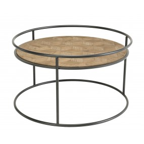 Table basse ronde Sapin marqueté pieds métal