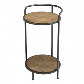 Table d'appoint ronde / guéridon Sapin marqueté pieds métal