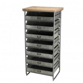 Chiffonnier / meuble 7 tiroirs Zinc plateau Sapin marqueté structure métal
