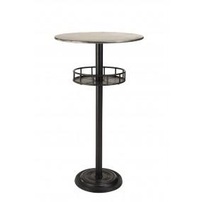 Table de bar ronde plateau Zinc 1 étagère pieds métal
