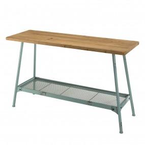 Console rectangulaire scandi plateau bois Sapin 1 étagère et pieds métal bleu