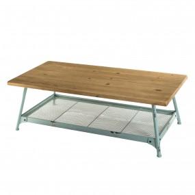 Table basse scandi plateau bois Sapin 1 étagère et pieds métal bleu