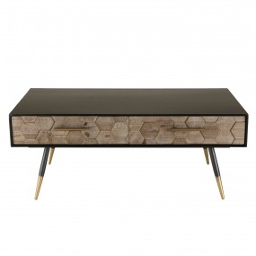 Table basse 2 tiroirs scandi Sapin marqueté pieds métal