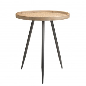 Table d'appoint ronde cannage pieds métal