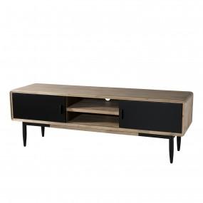 Meuble TV 2 portes coulissantes 2 niches bois et métal