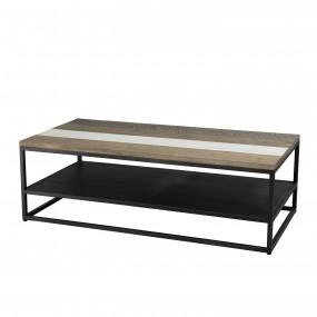 Table basse avec tablette bois et métal