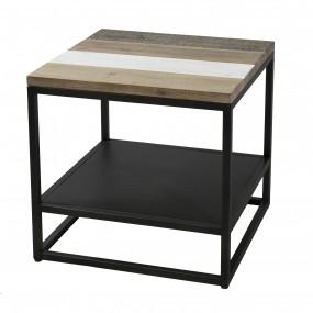 Bout de canapé carré avec tablette bois et métal