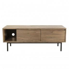 Meuble TV 2 portes abattantes 1 étagère 1 niche bois Acacia pieds métal